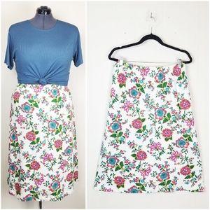 Vintage 90s Floral & Cream Jersey Knit Skirt